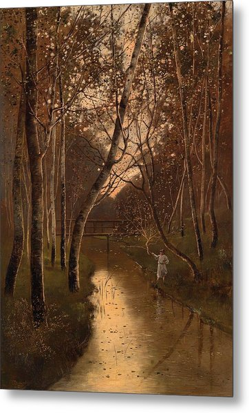 Wooded Landscape With Angler On The Riverside Metal Print