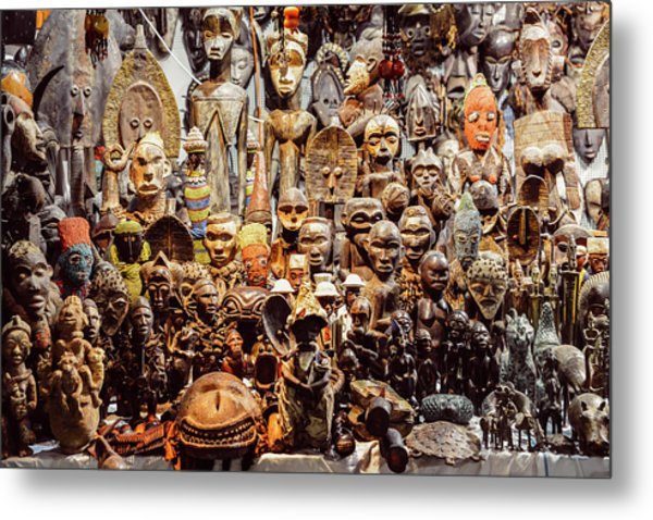 Wooden African Carvings Metal Print