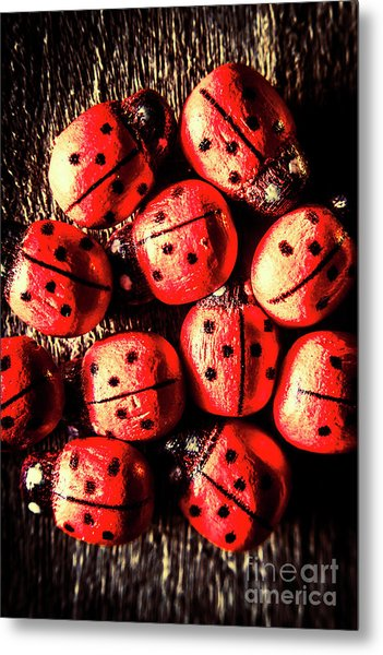 Wooden Beetle Bugs Metal Print