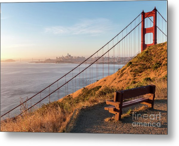Wooden Bench Overlooking Downtown San Francisco With The Golden  Metal Print