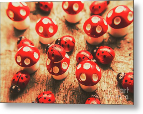 Wooden Bugs And Plastic Toadstools Metal Print