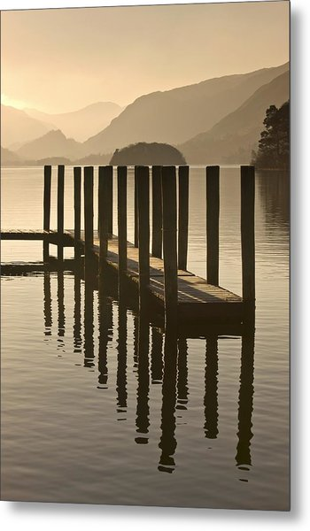 Wooden Dock In The Lake At Sunset Metal Print