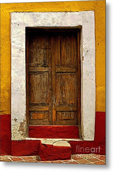 Wooden Door With White Trim Metal Print by Mexicolors Art Photography