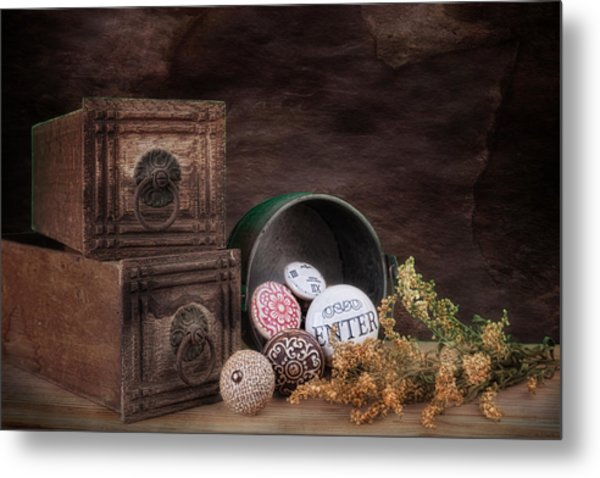 Wooden Drawers And Knobs Still Life Metal Print