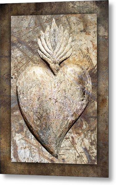 Wooden Heart Metal Print by Carol Leigh