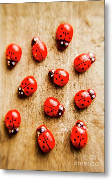 Wooden Ladybugs Metal Print