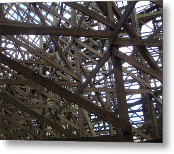 Wooden Rollercoaster Metal Print by Anthony Haight
