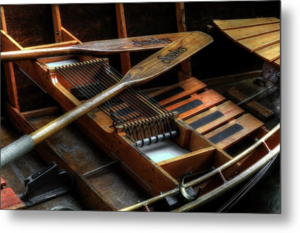 Wooden Rowboat And Oars Metal Print