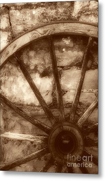 Wooden Wagon Wheel Metal Print