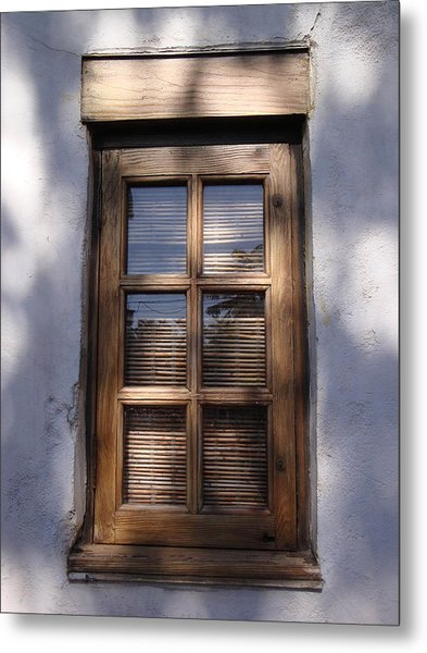 Wooden Window In The Shadows Metal Print by Kim Chernecky