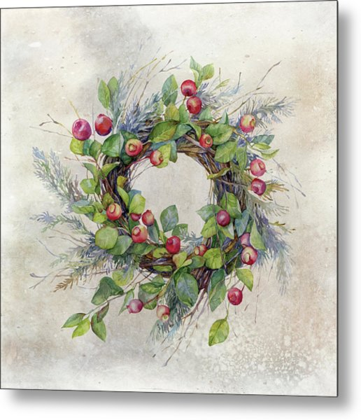 Woodland Berry Wreath Metal Print