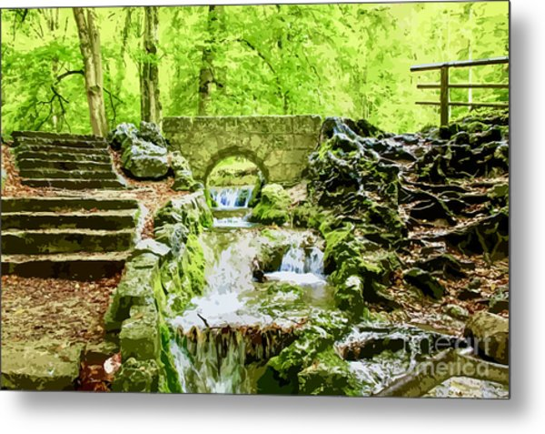 Woodland Steps And Stream Metal Print