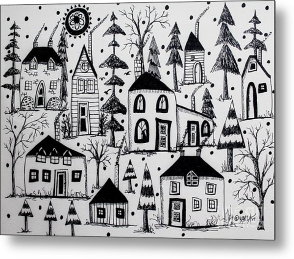 Woodsy Village Metal Print