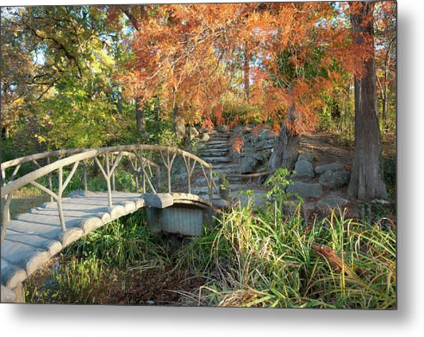 Metal Print featuring the photograph Woodward Park Bridge In Autumn - Tulsa Oklahoma by Gregory Ballos