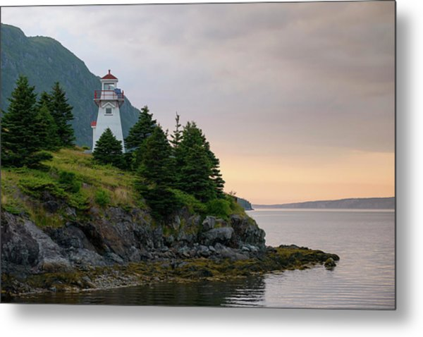 Woody Point Lighthouse - Bonne Bay Newfoundland At Sunset Metal Print