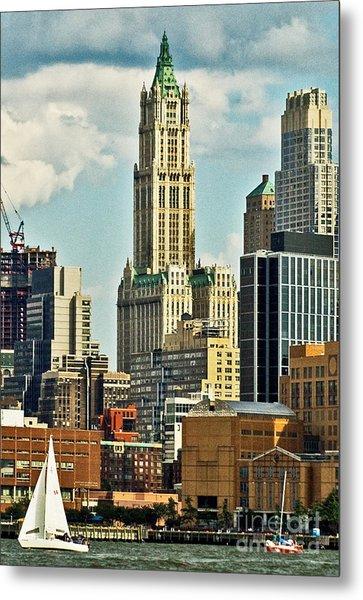Woolworth Building From Hudson River Metal Print by Allan Einhorn