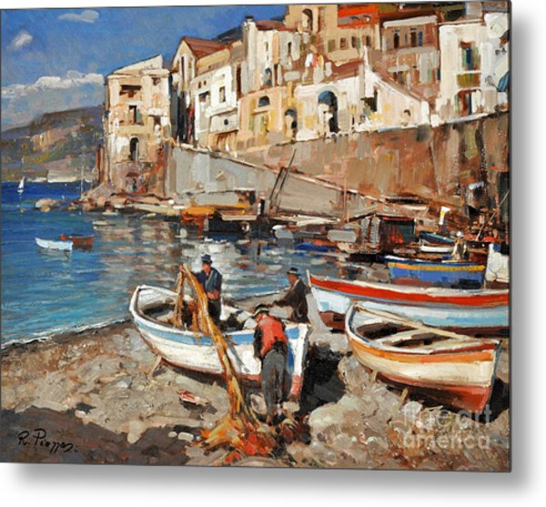 Work Never Ends For Amalfi Fishermen Metal Print