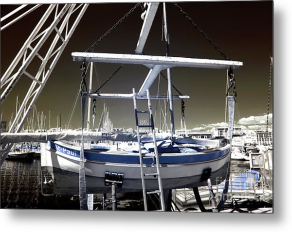 Working On The Boat Metal Print by John Rizzuto