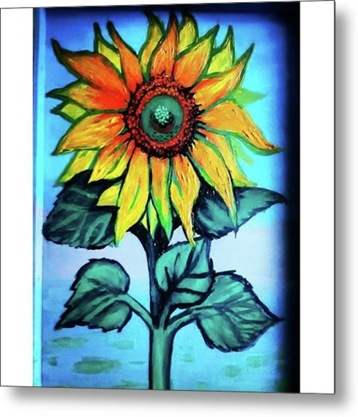 Working On This Sunflower. #sunflower Metal Print