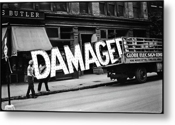 Workmen Hauling Damaged Sign Walker Evans Photo New York City 1930 Color Added 2008 Metal Print