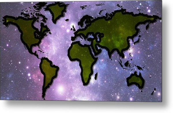World In Space Metal Print