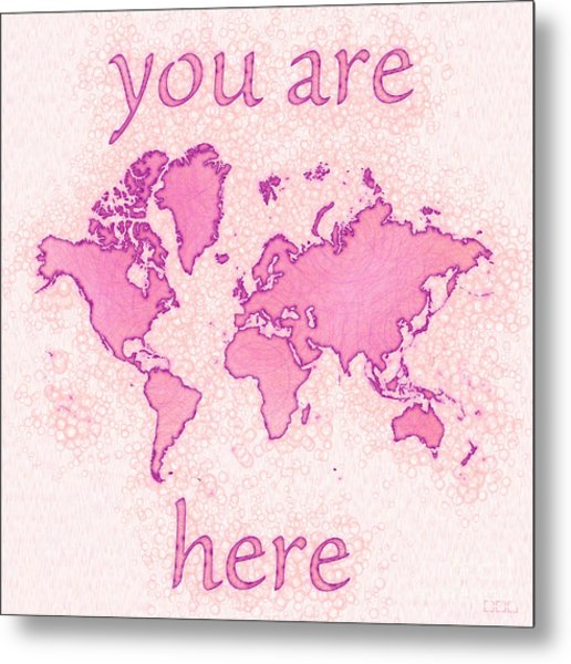 World Map Airy You Are Here In Pink And White Metal Print