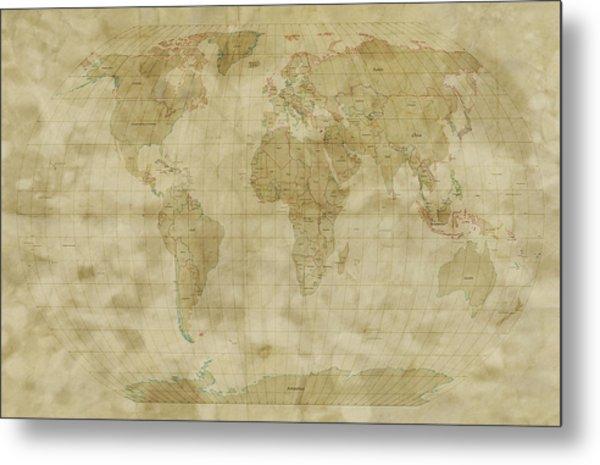 World Map Antique Style Metal Print