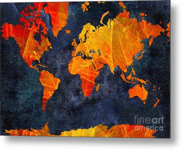 World Map - Elegance Of The Sun - Fractal - Abstract - Digital Art 2 Metal Print