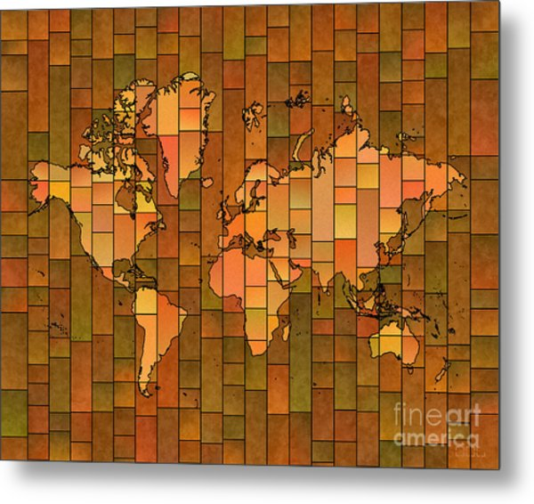 World Map Glasa Brown Orange Green Metal Print