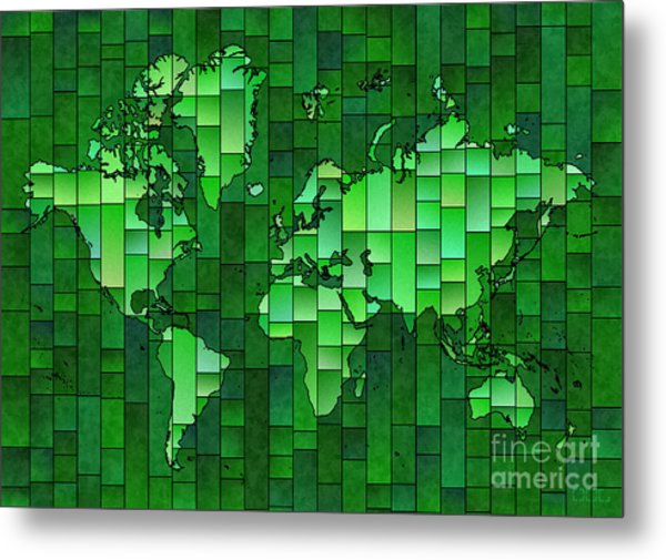 World Map Glasa Green Metal Print