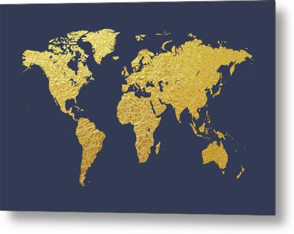 World Map Gold Foil Metal Print