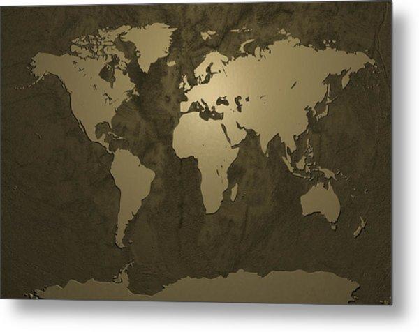 World Map Gold Metal Print