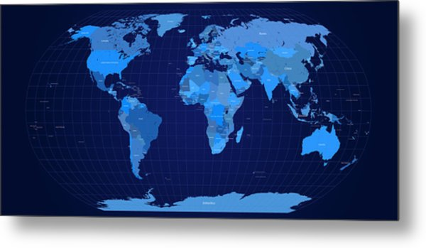 World Map In Blue Metal Print