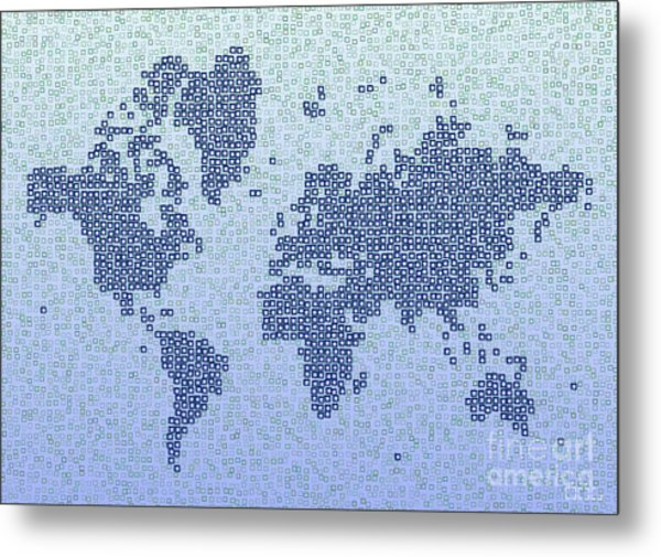 World Map Kotak In Blue Metal Print