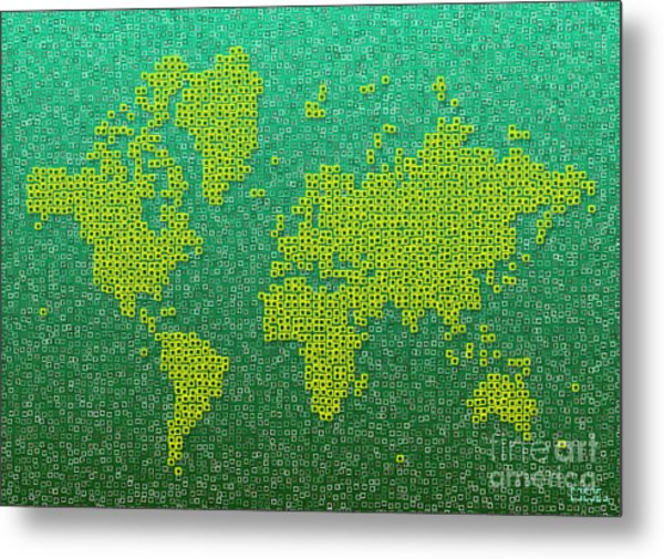 World Map Kotak In Green And Yellow Metal Print