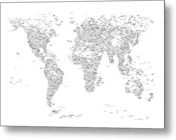 World map of cities typography map digital art by michael tompsett world map of cities typography map metal print by michael tompsett gumiabroncs Choice Image