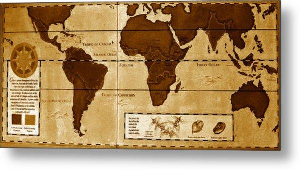World Map Of Coffee Metal Print