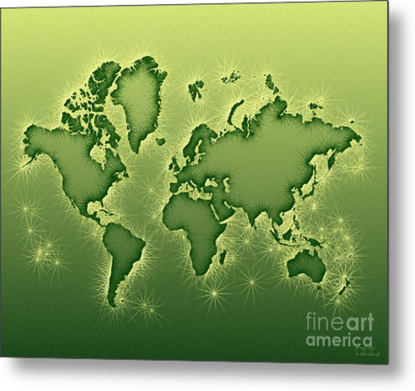 World Map Opala In Green And Yellow Metal Print