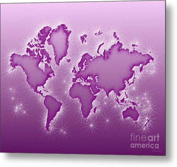 World Map Opala In Purple And White Metal Print