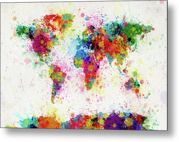 World Map Paint Drop Metal Print