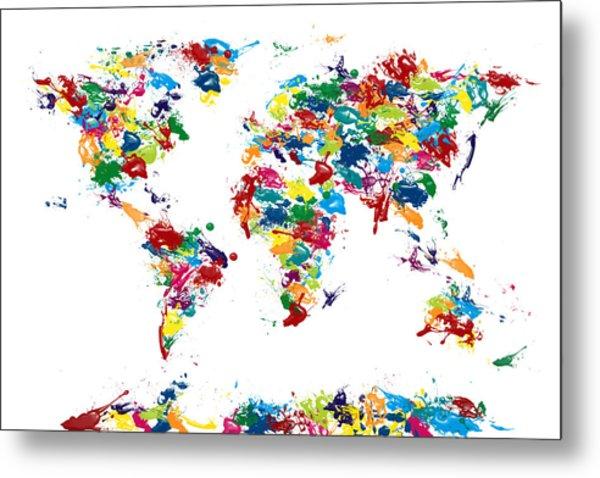 World Map Paint Drops Metal Print