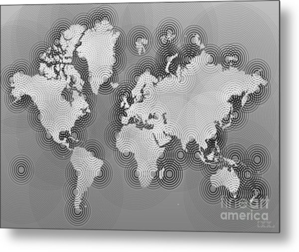 World Map Zona In Black And White Metal Print
