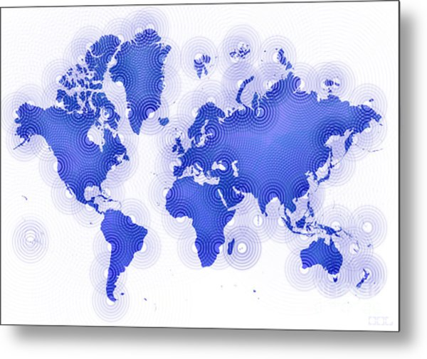 World Map Zona In Blue And White Metal Print