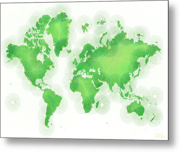World Map Zona In Green And White Metal Print