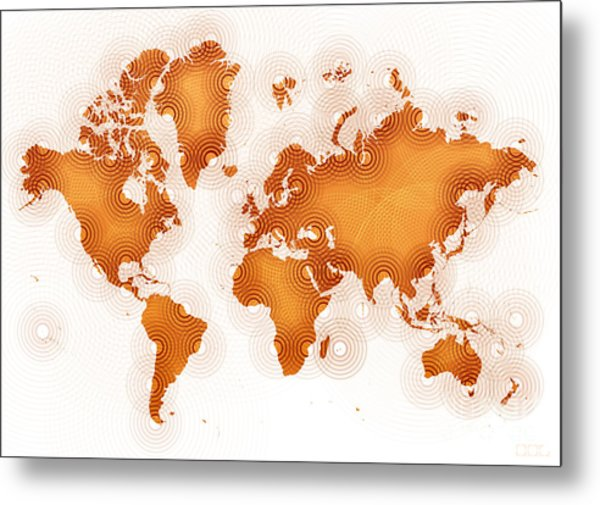 World Map Zona In Orange And White Metal Print