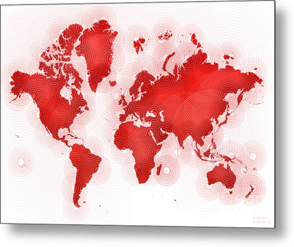 World Map Zona In Red And White Metal Print