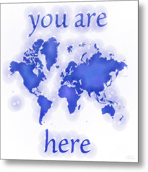 World Map Zona You Are Here In Blue And White Metal Print