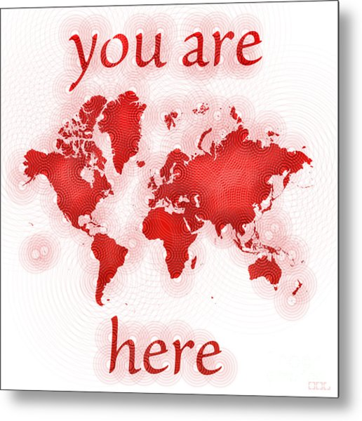 World Map Zona You Are Here In Red And White Metal Print