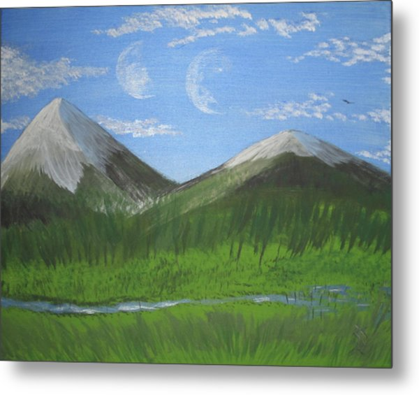 World Of Twin Moons Metal Print by Law Stinson
