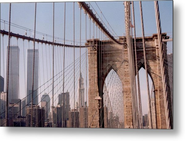 World Trade Center And Brooklyn Bridge Metal Print